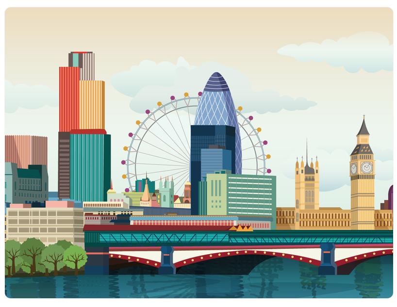 Panorama: London eye, Big bang, London bridge