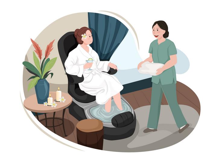 Massage spa in London, massage therapist serving hot tea