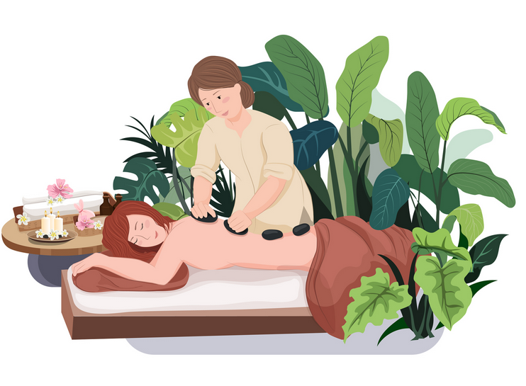 Massage therapist performing therapeutic massage in London spa